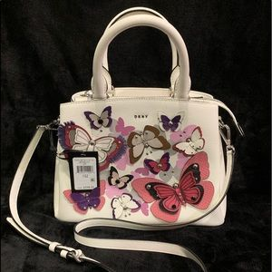 Dkny paige all over butterfly medium satchel white